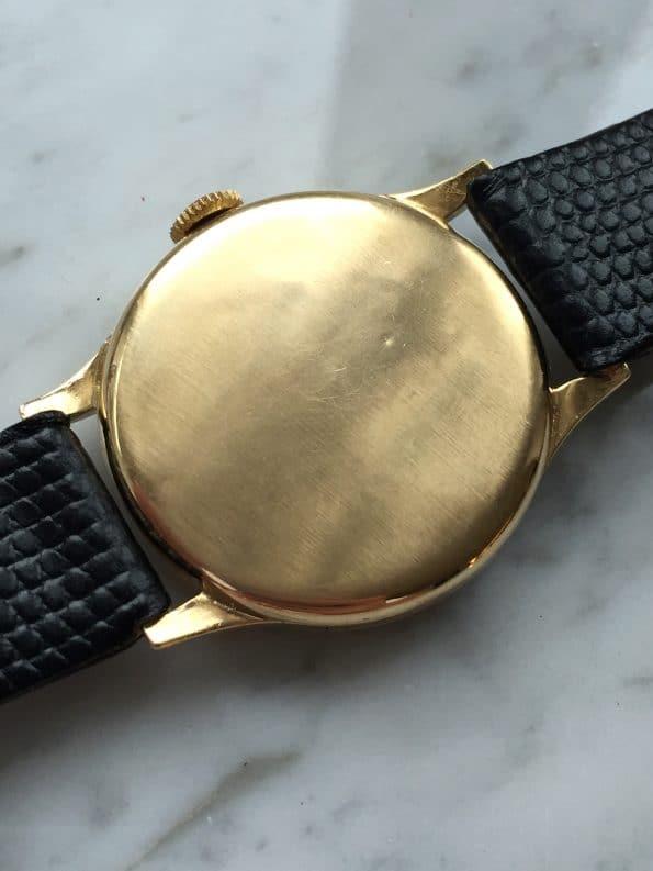 Serviced Tavannes Solid Gold GILT Dial Black Calatrava