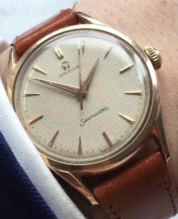 [:en]Ladies 33mm Omega Seamaster Honeycomb dial rose gold plated watch[:de]Damen 33mm Omega Seamaster mit Honigwaben Ziffernblatt[:]