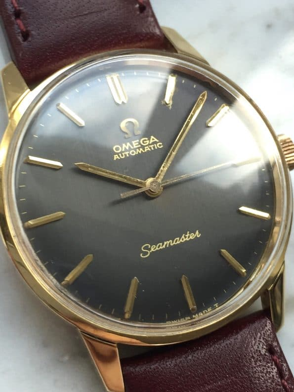 Superrare Omega Seamaster Vintage in Solid Gold with Grey Linen Dial