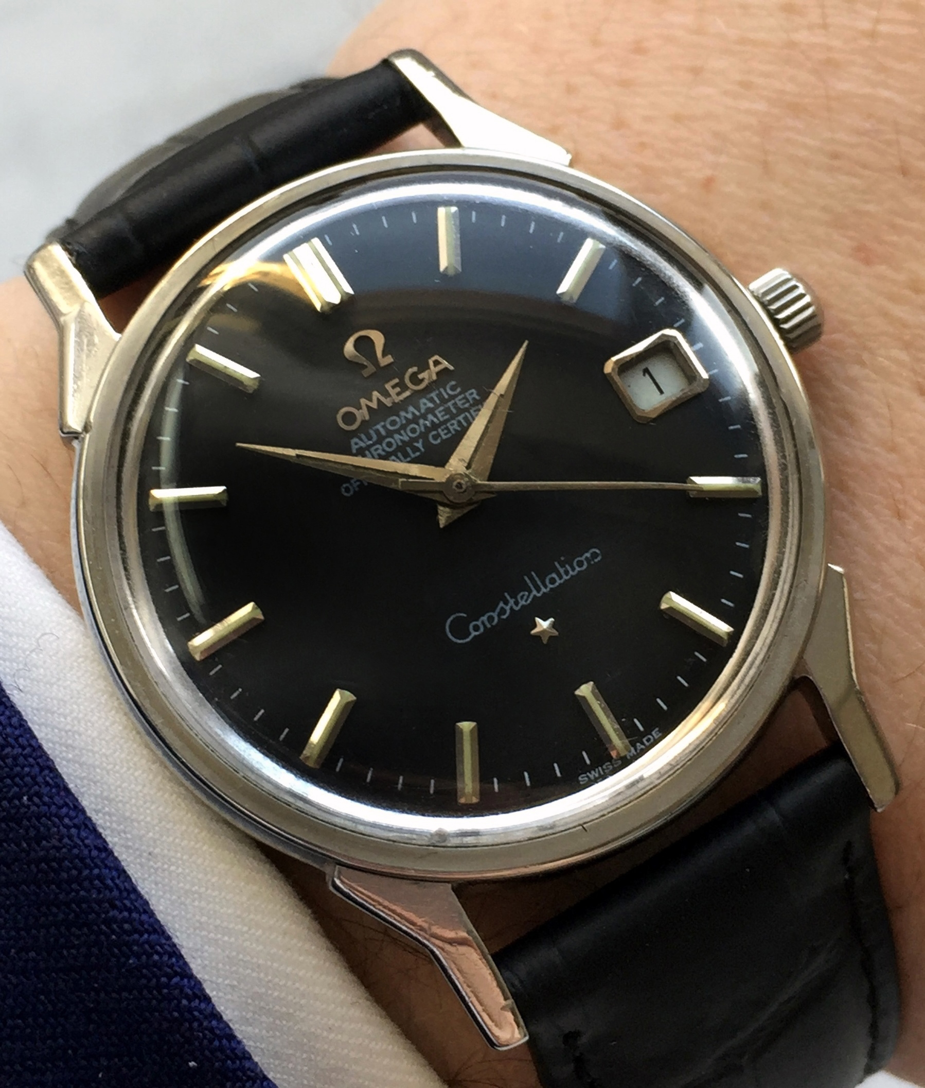 Beautiful Vintage Omega Constellation black dial fully restored