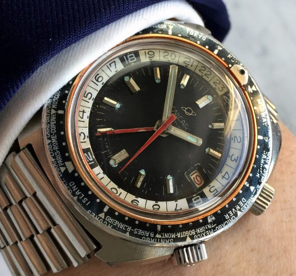 Great Enicar Sherpa Diver Guide GMT Vintage ROULETTE Date