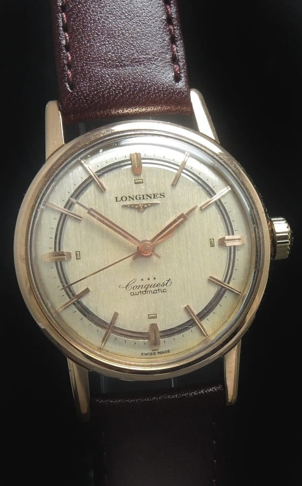 Superb Longines Conquest Linen Sector Dial Solid Pink Gold