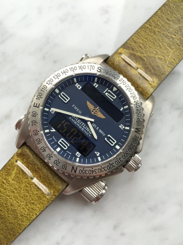 Serviced Breitling Emergency Mission with Ecru Strap