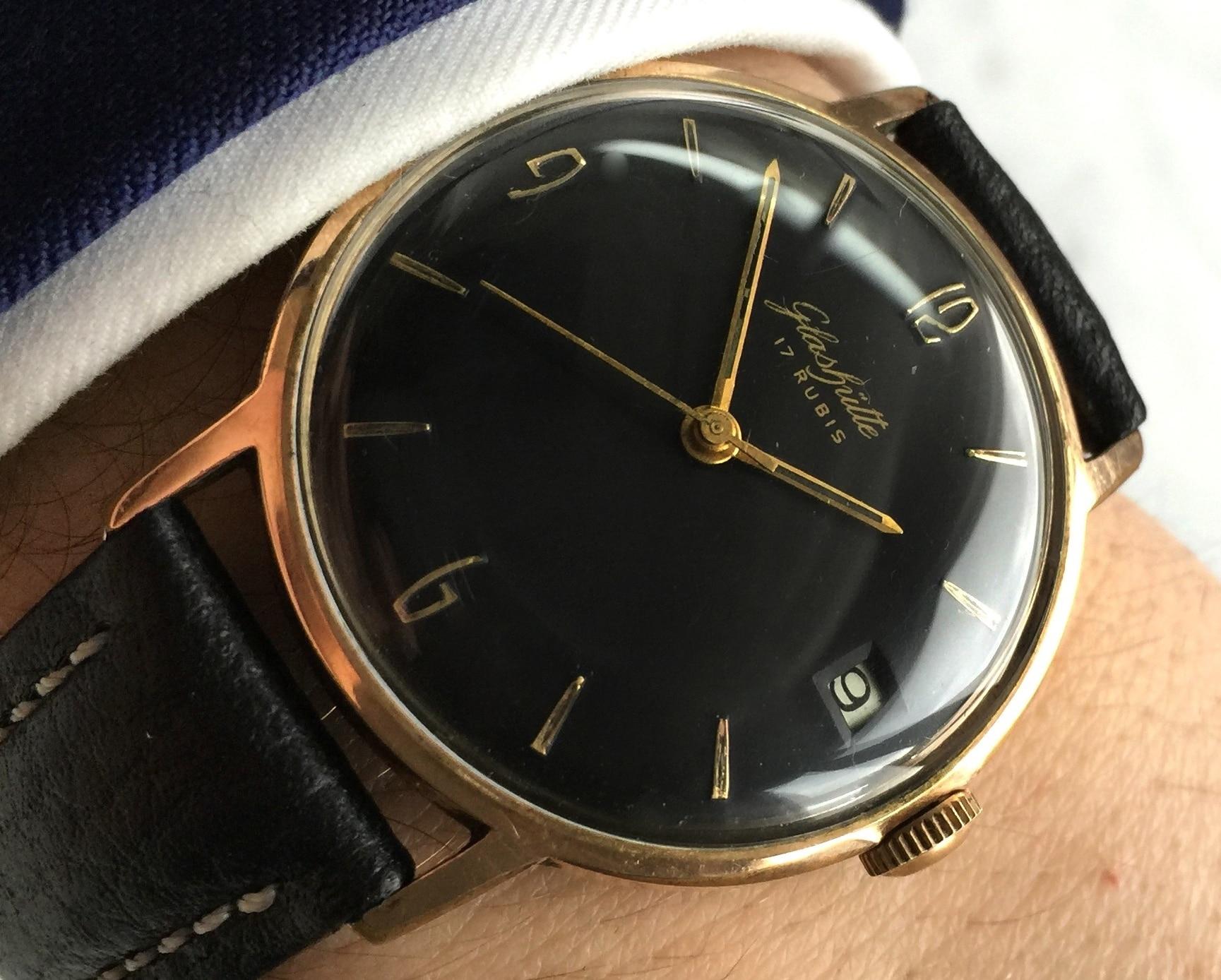 Vintage Glashütte Spezimatic black dial
