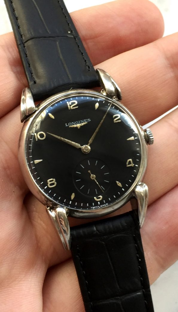 Longines Vintage Black Refurbished Dial and Cow Horn Lugs