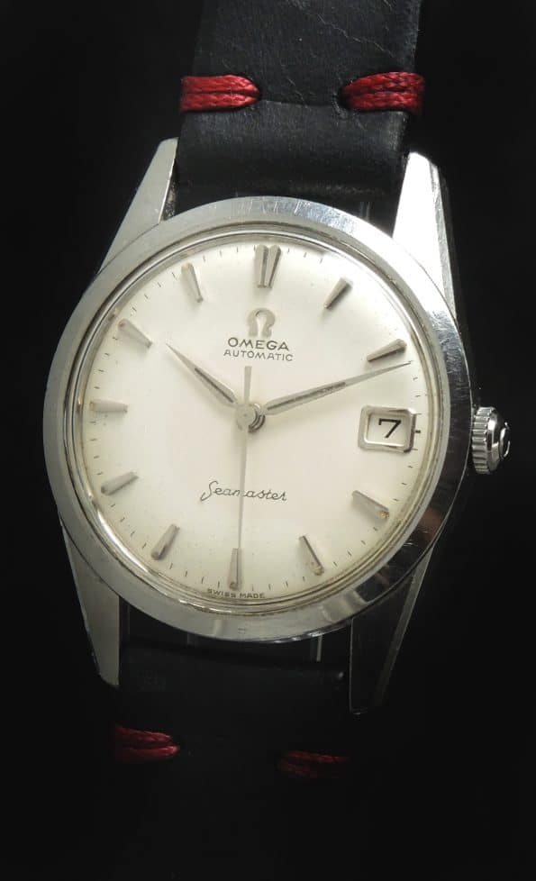 Vintage Ecru Strapped Omega Seamaster Automatic Steel Silver Dial