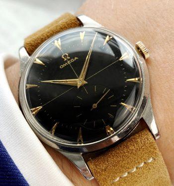Refurbished Black Omega Oversize Jumbo Vintage Crosshair Dial