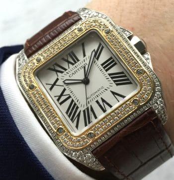 STUNNING Cartier Santos 100 XL Diamonds Iced Out