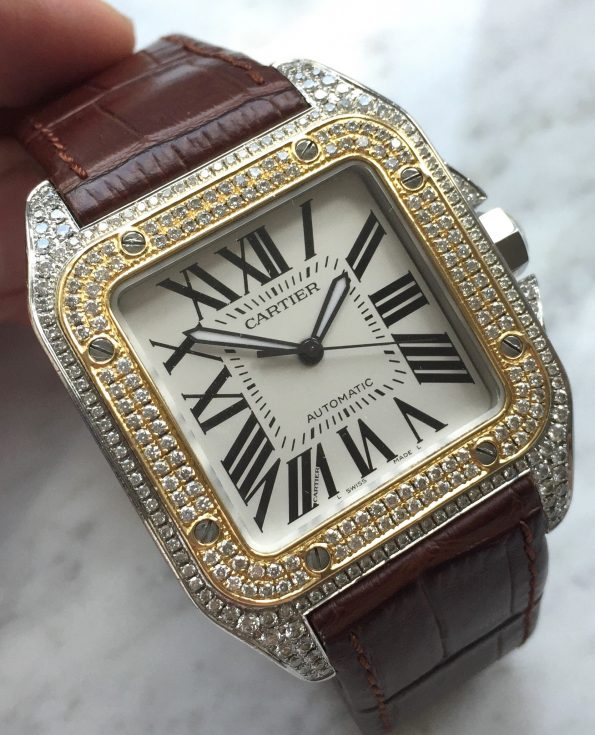 STUNNING Cartier Santos 100 XL Diamond Iced Out