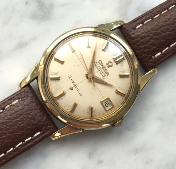 Used Omega Constellation with aged crosshair dial