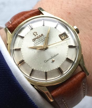 [:en]Gold Plated Omega Constellation Chronometer Pie Pan Automatic[:de]Vergoldete Omega Constellation Chronometer Pie Pan Automatik[:]