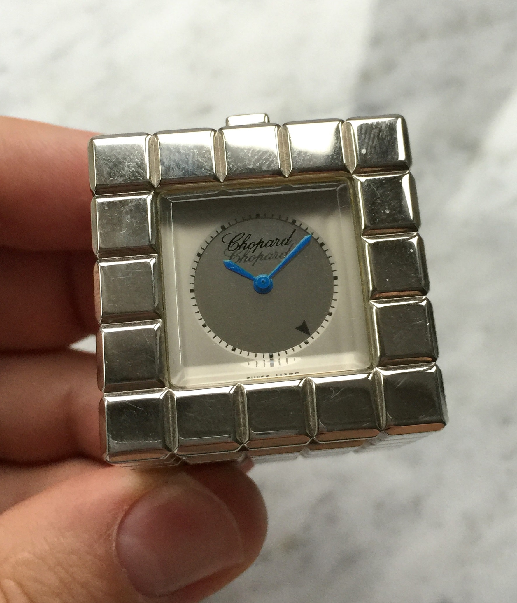Chopard Ice Cube Table Clock Alarm Steel Quartz 35x35x35mm Ref.8898