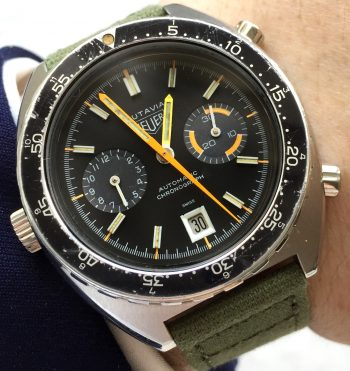 750 Euro Serviced Heuer Autavia Orange Boy Vintage Automatik Chronograph