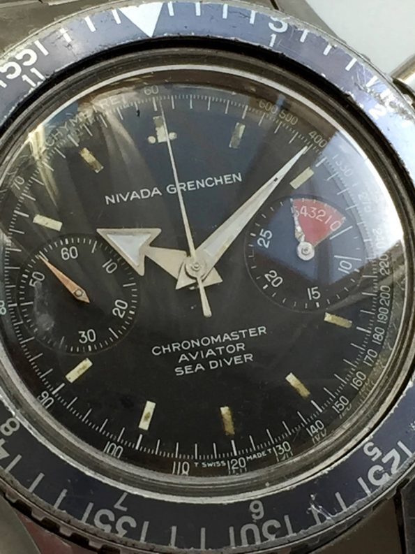 Vintage Nivada Grenchen Chronograph Broad Arrow
