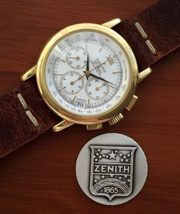 Zenith el Primero Automatic Full Set Solid Gold and a Porcelain Dial
