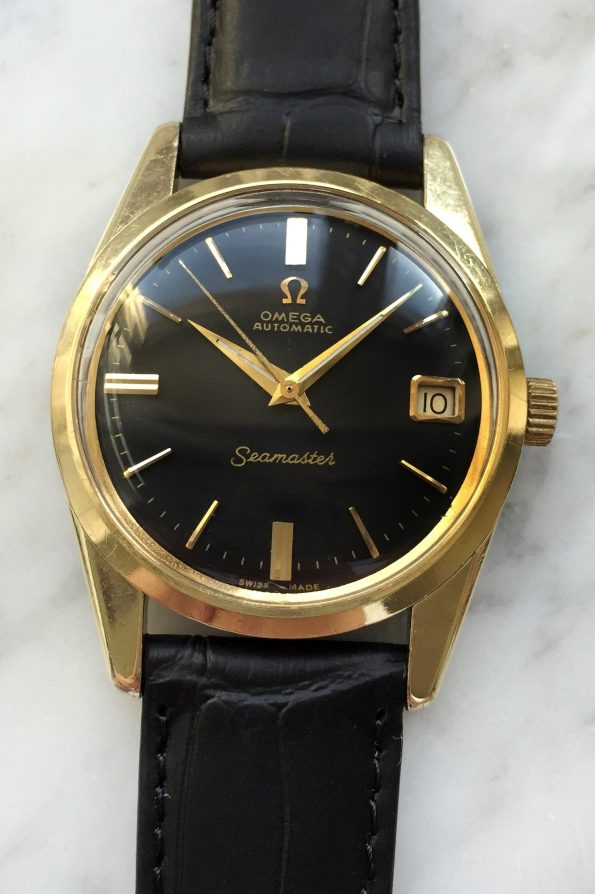 Vintage Omega Seamaster Automatic Gold Plated Black Dial