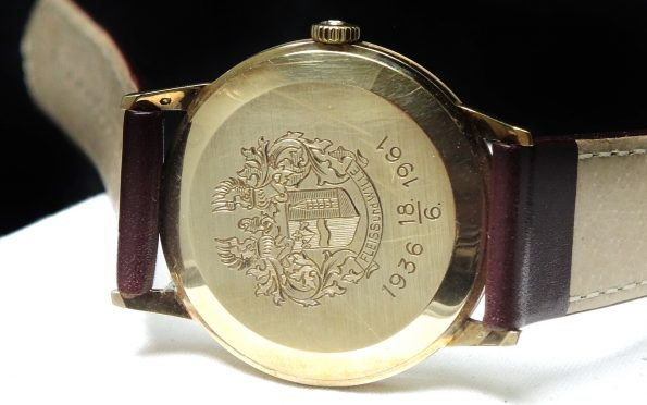 Heraldicly Engraved Omega Vintage in Solid Gold