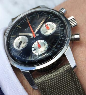 Vintage Breitling Top Time Steel Black Reverse Panda Dial