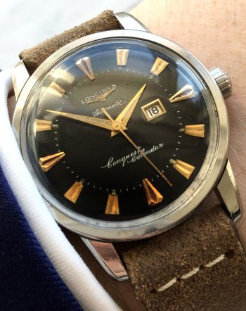 Serviced Longines Conquest Calendar Automatic Black Original Dial RARE