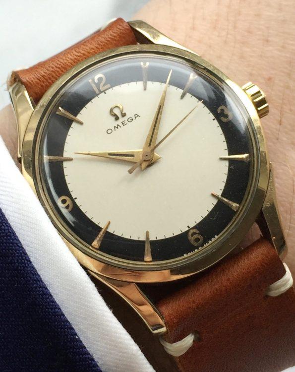 Seltene Omega Bullseye Ziffernblatt Handaufzug Vergoldet