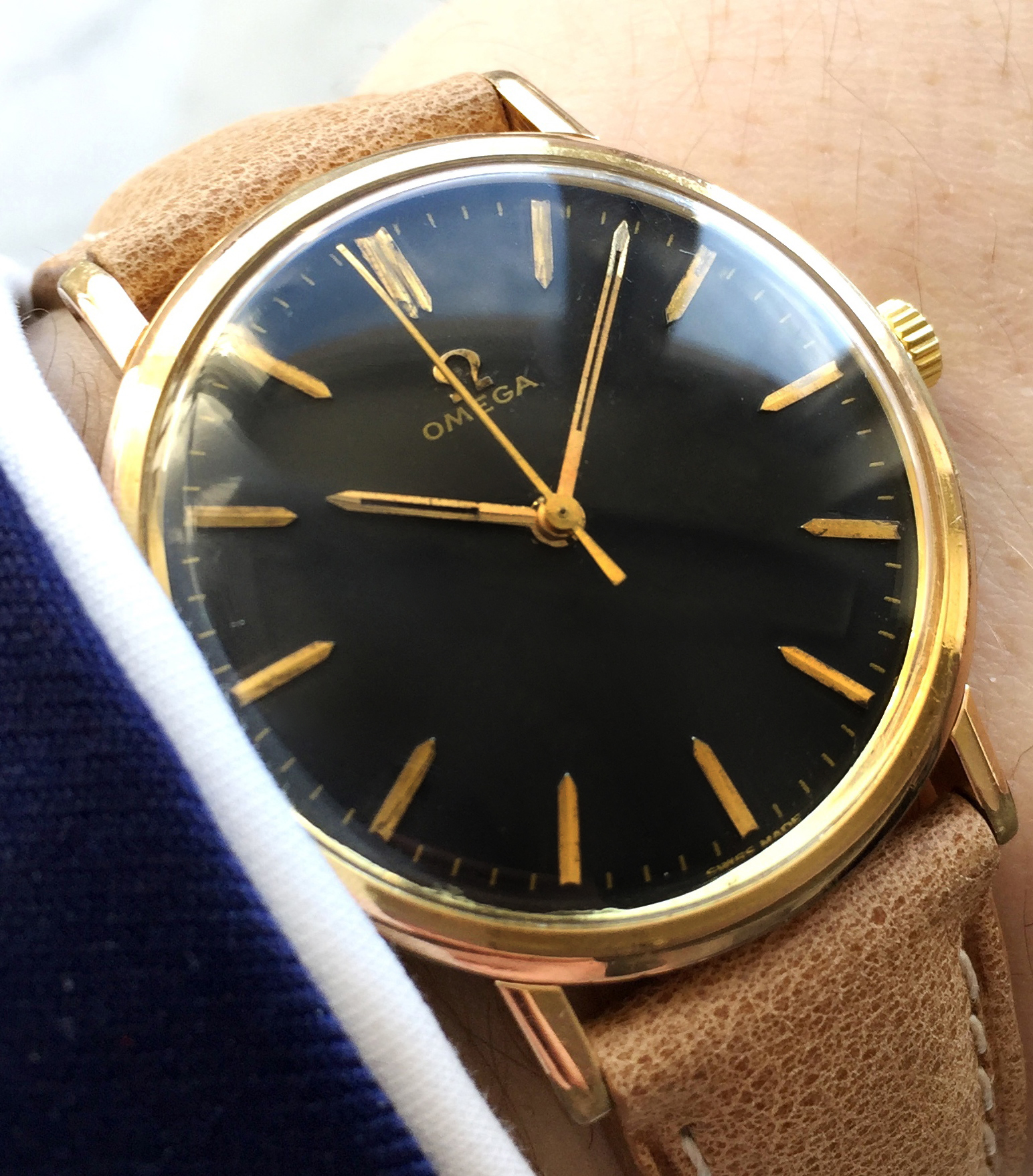 Vintage Omega Manual Wind Cal 601 Black Dial