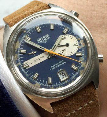 Vintage Heuer Carrera blue Dial Chronograph