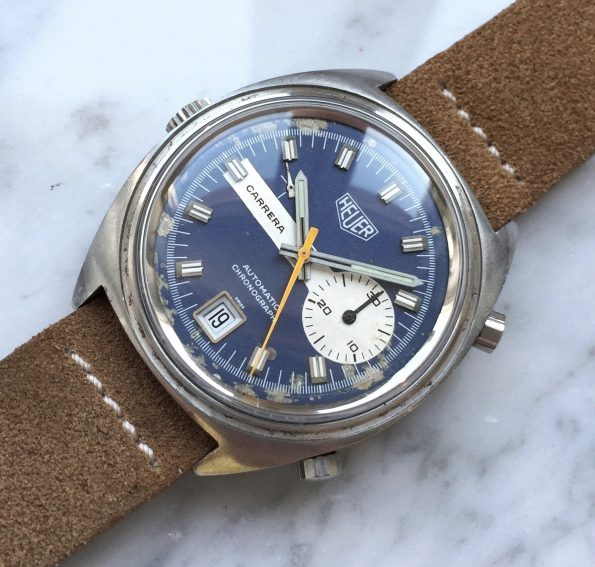 Vintage Heuer Carrera blue Dial Chronograph