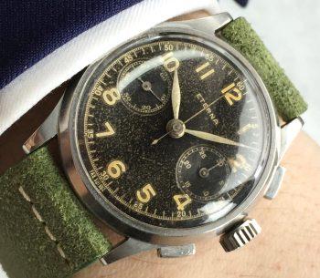 Eterna Black Gilt Dial Steel Chronograph Vintage 38mm Oversize Jumbo