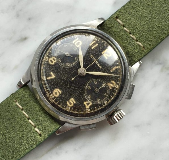 Eterna Black Gilt Dial Steel Chronograph Vintage 38mm Oversize Jumbo