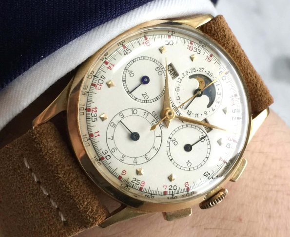 Solid Gold Universal Genève Tri-Compax Vintage Triple Date Moonphase Chronograph