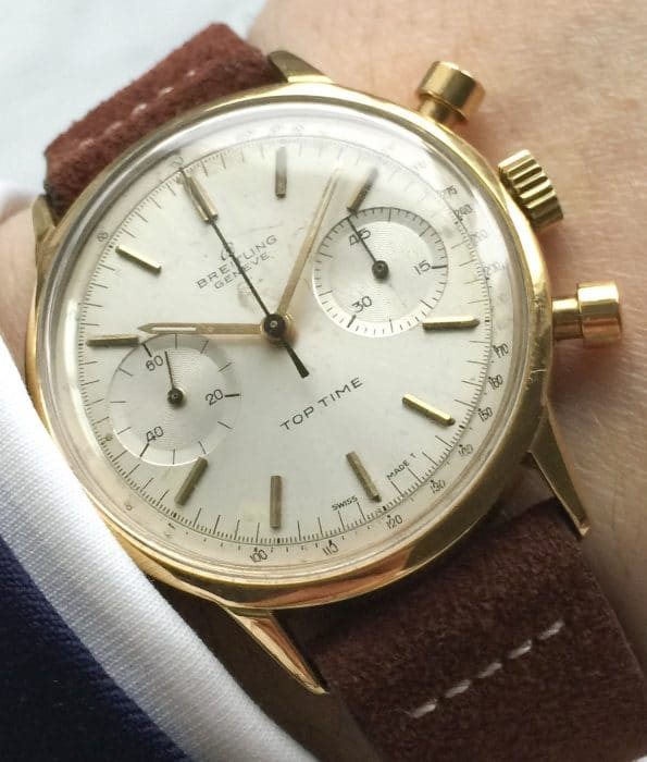 Attractive Breitling Top Time 36mm Panda Dial Gold Plated Chronograph