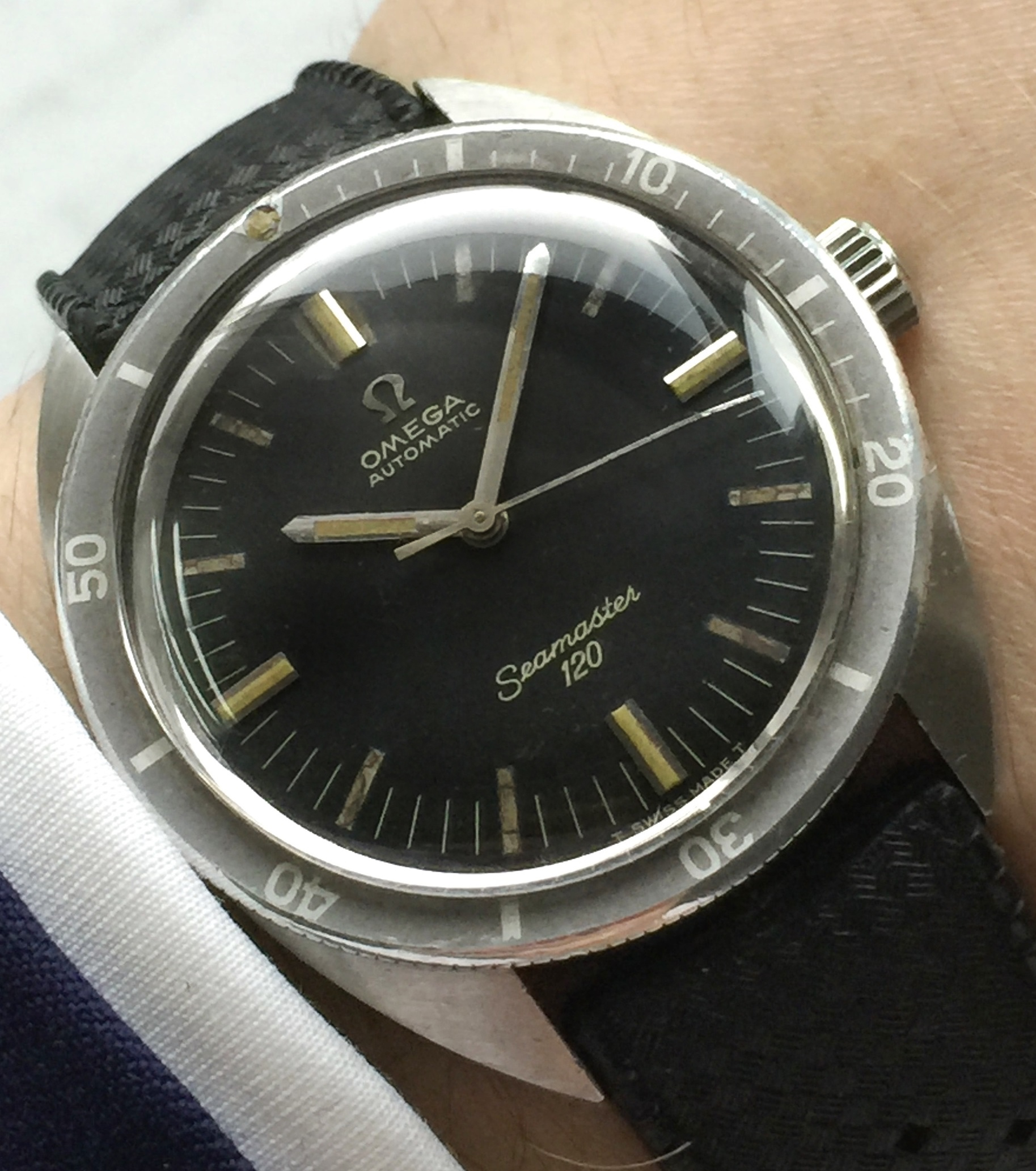 Rare No Date Vintage Omega Seamaster 120 Automatic Date Ghosted Bezel