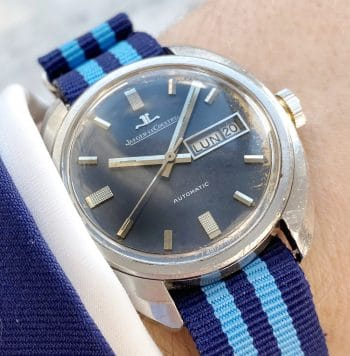 Jaeger LeCoultre Vintage Blue Dial Steel Automatic Day Date
