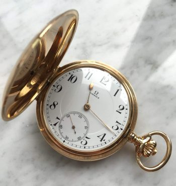 [:en]Extremely rare 14k solid gold Omega Double Shell Pocket Watch[:de]Extrem Seltene Omega Taschenuhr Doppelmantel 14ct Vollgold[:]