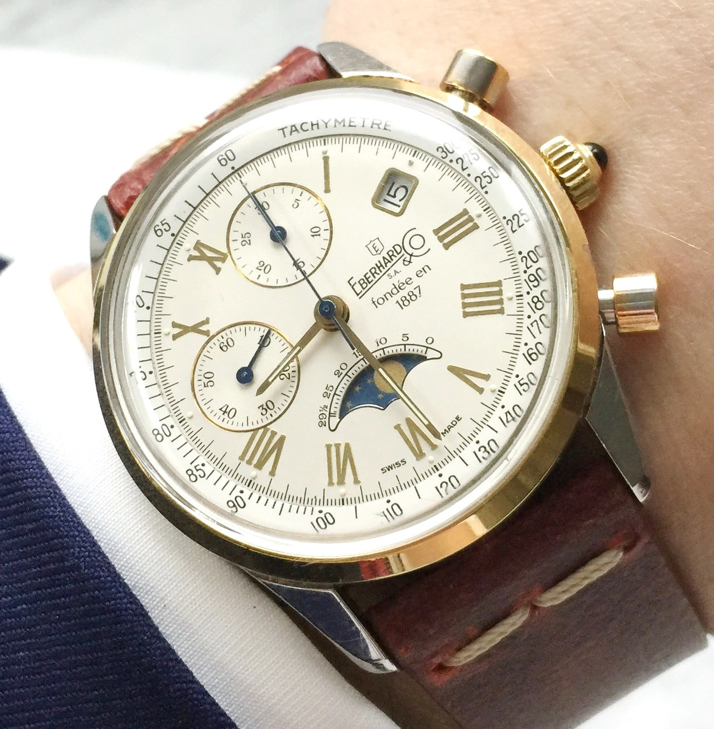 Eberhard Co 75 Anniversary Limited Edition Chronograph Moonphase 1887