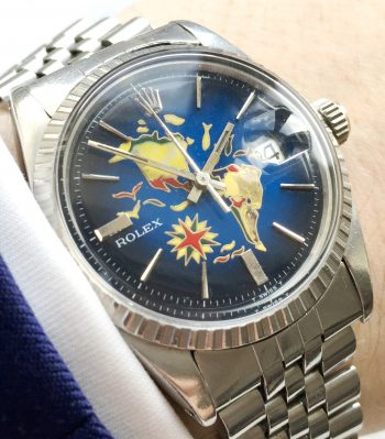 "Beautiful Vintage Rolex Datejust Automatic Handpainted ""America-Map"" Dial"