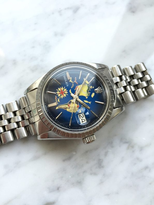 """Beautiful Vintage Rolex Datejust Automatic Handpainted """"America-Map"""" Dial"""