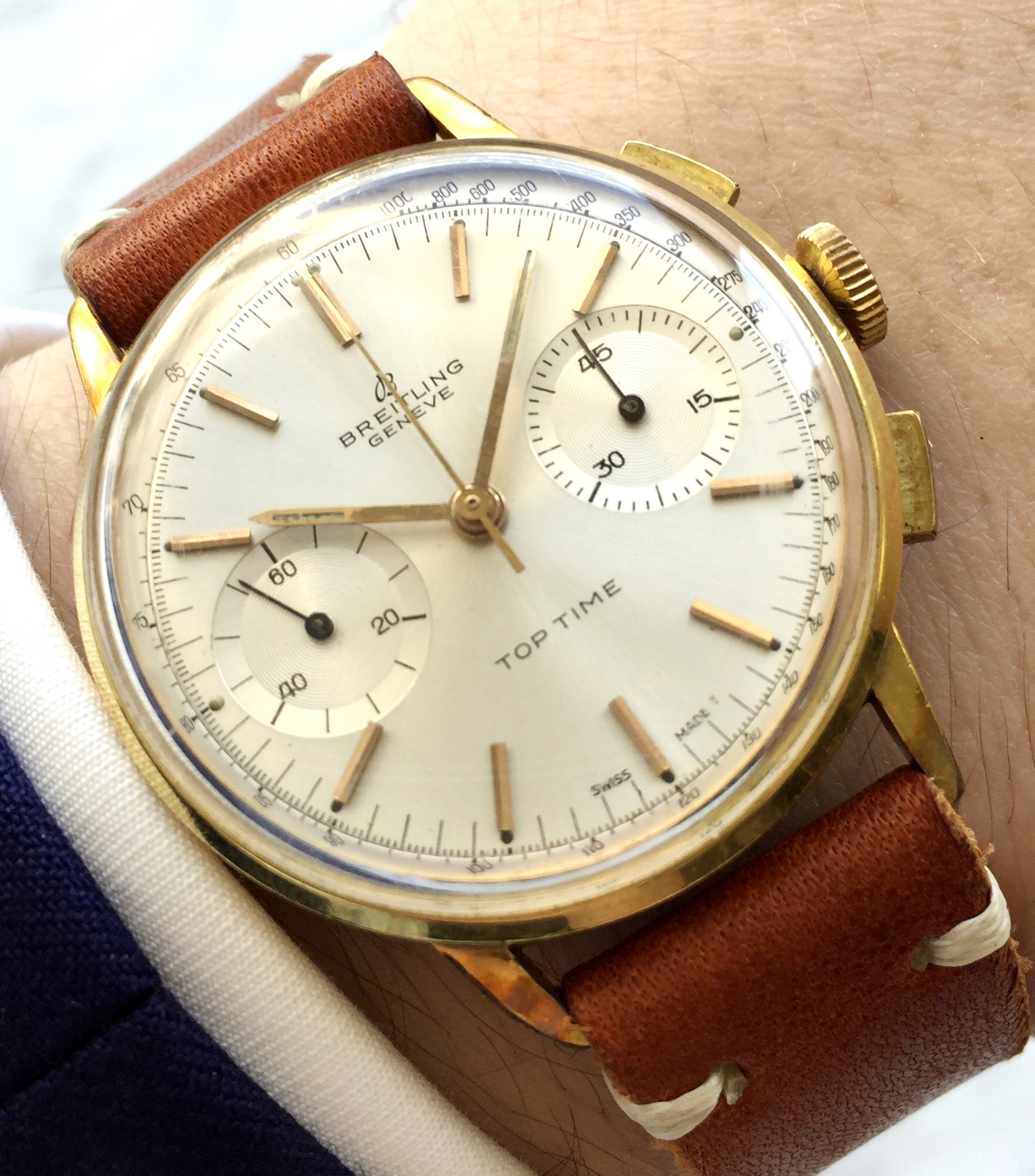 Superb Condition Vintage Breitling Top Time Gold Plated