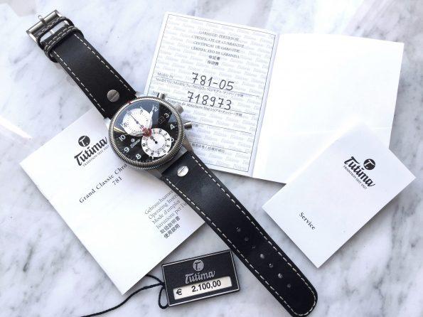 Tutima Glashütte Full Set Reverse Panda Dial 43mm Pilots Watch Flieger Chronograph