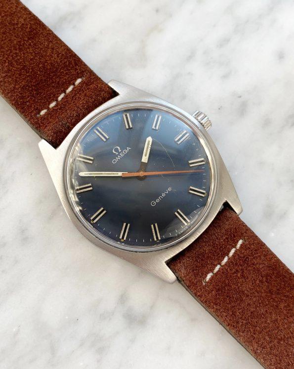 Omega Geneve Vintage Handwinding Blue Dial Orange Hand