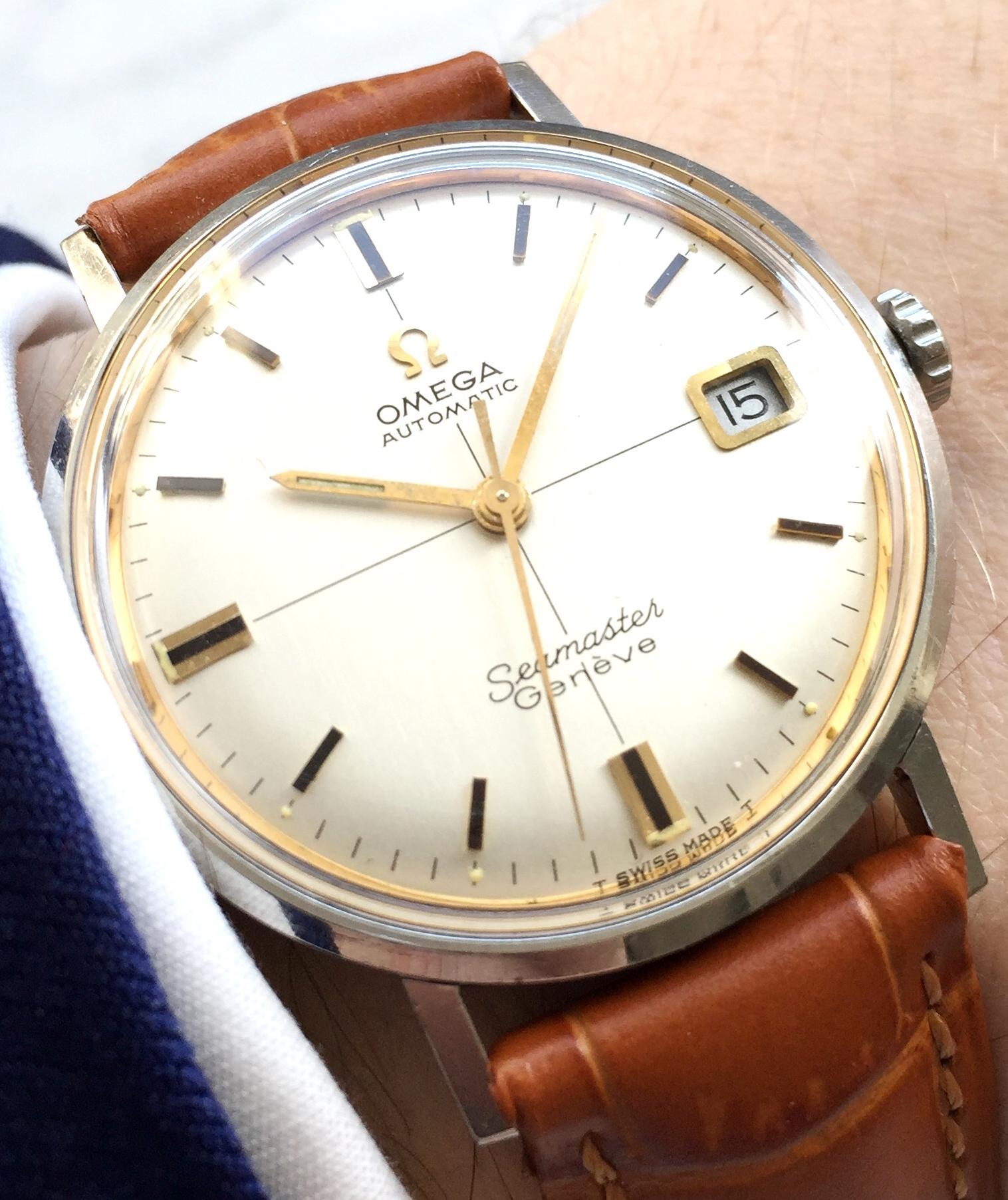 Wunderschöne Omega Seamaster Genève Automatik Datum CROSSHAIR Ziffernblatt