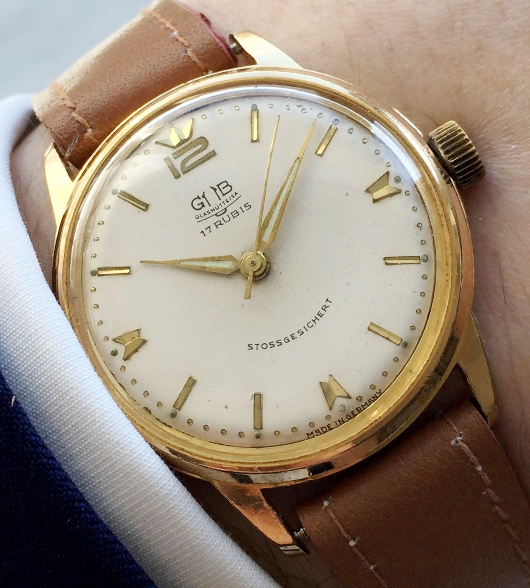 Vintage GUB Glashütte Handwinding Gold Plated Wristwatch