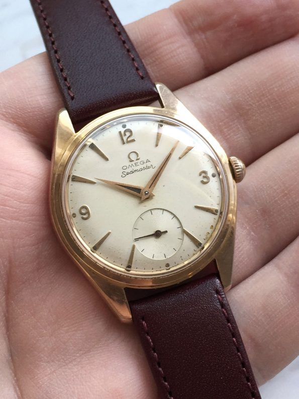 Big 36mm Omega Seamaster Ranchero rose gold plated