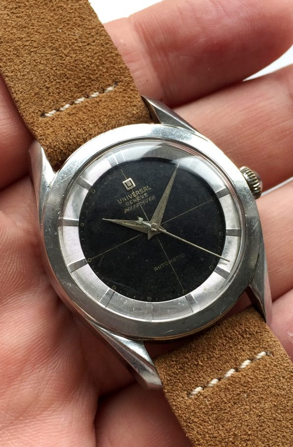 Rare Vintage Universal Geneve Polerouter Big Bumper black dial First Execution
