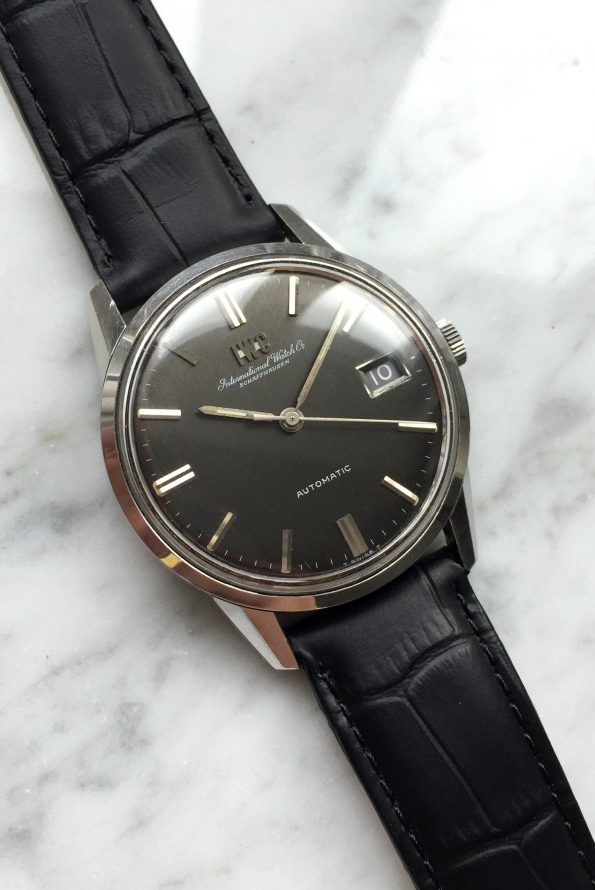 Perfect IWC Steel Black Linen Dial Rare and Beautiful