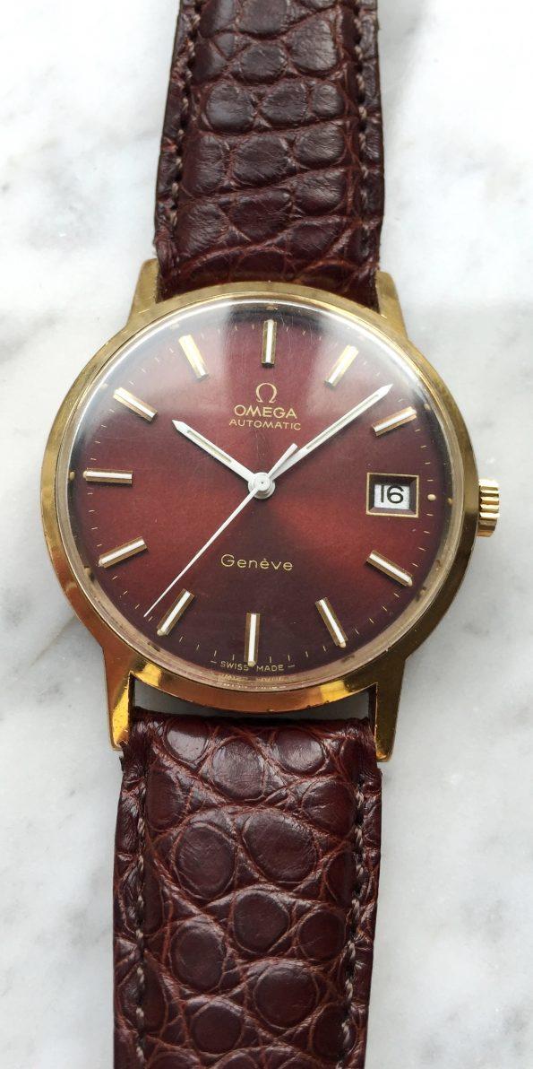 Vintage Omega Geneve Automatic Burgundy Dial Rare