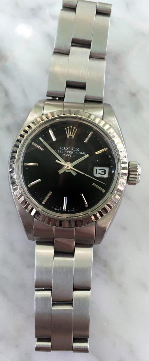 Vintage Rolex Damen Datejust Schwarzes Ziffernblatt Rolex Stahlband
