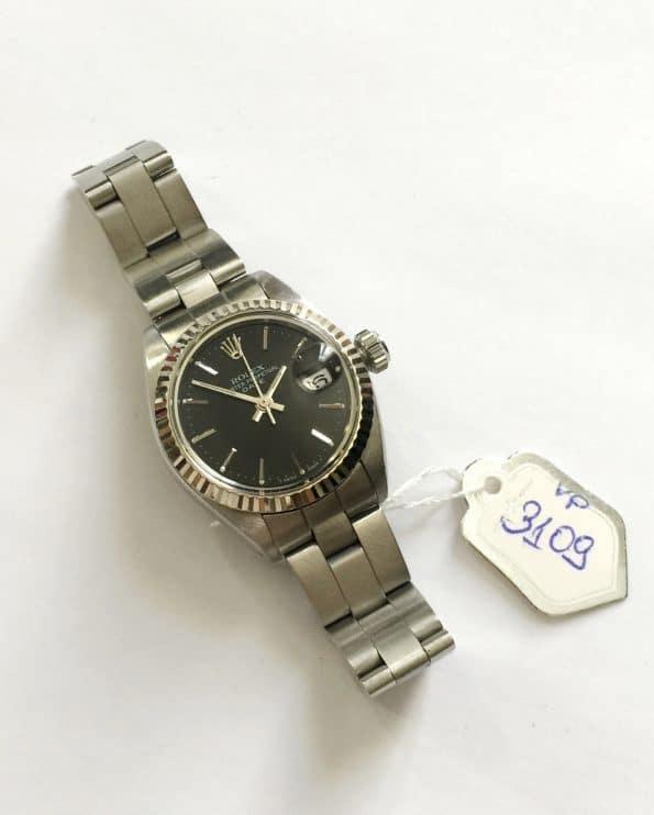 Vintage Rolex Lady Datejust Black Dial Rolex Steel Bracelet