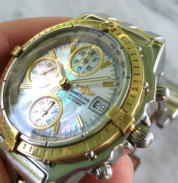 Vintage Breitling Chronomat Steel Gold MOP Mother of Pearl