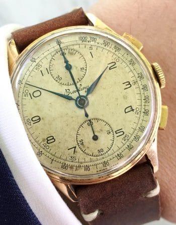 Tolle Vintage Breitling Chronograph Rosegold Ref 178